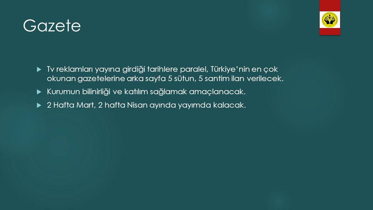 Gazete  Tv reklamları yayına girdiği tarihlere paralel, Türkiye'nin en çok okunan gazetelerine arka sayfa 5 sütun, 5 santim ilan verilecek.  Kurumun