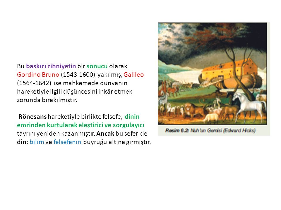 Bu baskıcı zihniyetin bir sonucu olarak Gordino Bruno (1548-1600) yakılmış, Galileo (1564-1642) ise mahkemede dünyanın hareketiyle ilgili düşüncesini