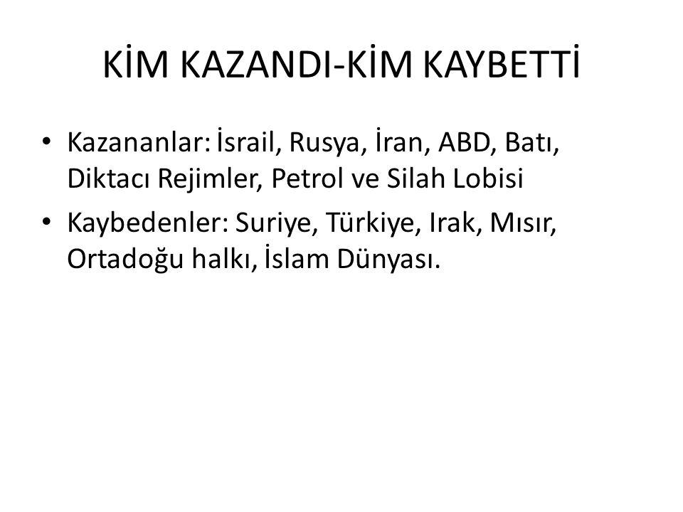 KİM KAZANDI-KİM KAYBETTİ Kazananlar: İsrail, Rusya, İran, ABD, Batı, Diktacı Rejimler, Petrol ve Silah Lobisi Kaybedenler: Suriye, Türkiye, Irak, Mısır, Ortadoğu halkı, İslam Dünyası.