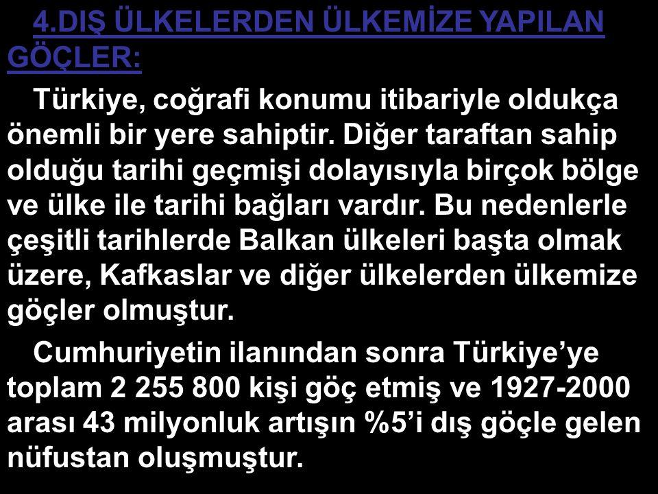 4.DIŞ ÜLKELERDEN ÜLKEMİZE YAPILAN GÖÇLER: Türkiye, coğrafi konumu itibariyle oldukça önemli bir yere sahiptir. Diğer taraftan sahip olduğu tarihi geçm