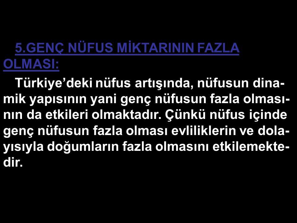 5.GENÇ NÜFUS MİKTARININ FAZLA OLMASI: Türkiye'deki nüfus artışında, nüfusun dina- mik yapısının yani genç nüfusun fazla olması- nın da etkileri olmakt