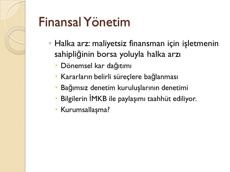 Finansal Yönetim ◦ Kredi kullanımı  Amaç ödenen faizden çok gelir elde edebilmek  Yatırım kendisini ne kadar sürede amorti edecek.