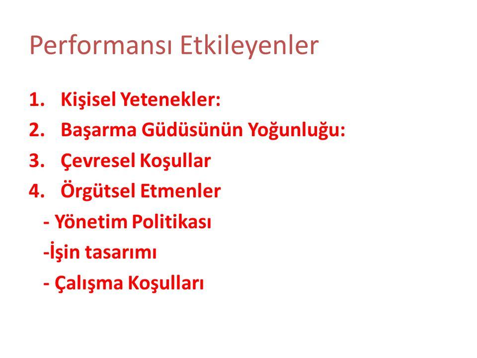 Performansı Etkileyenler 1.Kişisel Yetenekler: 2.Başarma Güdüsünün Yoğunluğu: 3.Çevresel Koşullar 4.Örgütsel Etmenler - Yönetim Politikası -İşin tasar