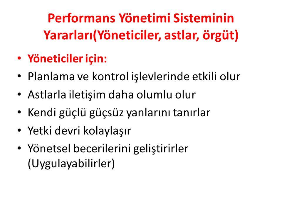 Performans Yönetimi Sisteminin Yararları(Yöneticiler, astlar, örgüt) Yöneticiler için: Planlama ve kontrol işlevlerinde etkili olur Astlarla iletişim