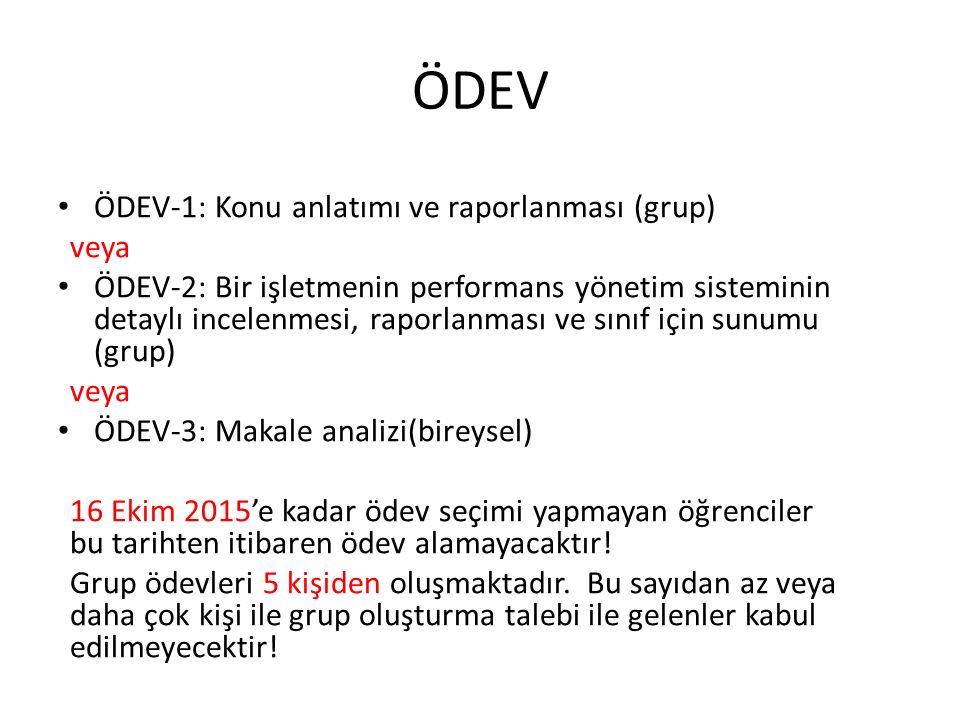 ÖDEV ÖDEV-1: Konu anlatımı ve raporlanması (grup) veya ÖDEV-2: Bir işletmenin performans yönetim sisteminin detaylı incelenmesi, raporlanması ve sınıf
