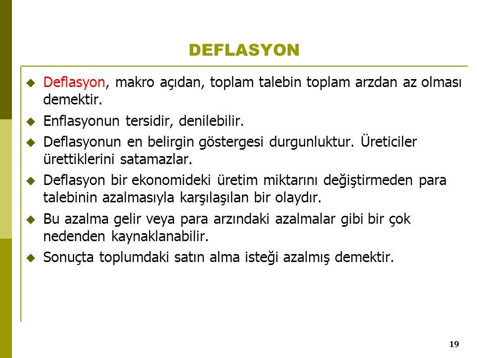 19 DEFLASYON  Deflasyon, makro açıdan, toplam talebin toplam arzdan az olması demektir.  Enflasyonun tersidir, denilebilir.  Deflasyonun en belirgi