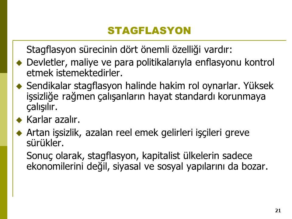 21 STAGFLASYON Stagflasyon sürecinin dört önemli özelliği vardır:  Devletler, maliye ve para politikalarıyla enflasyonu kontrol etmek istemektedirler