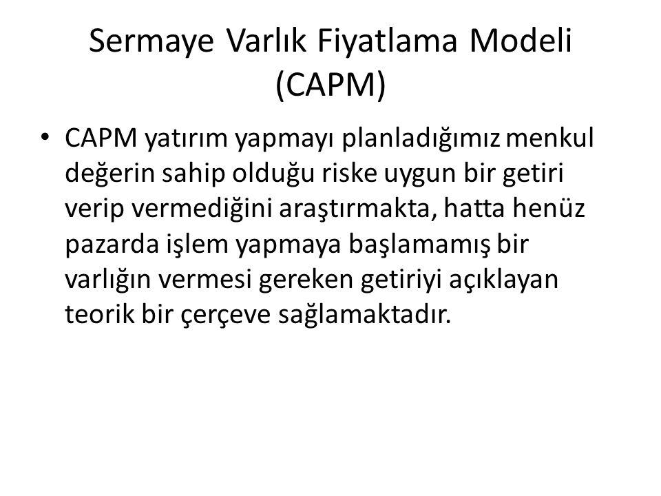 Sermaye Varlık Fiyatlama Modeli (CAPM) CAPM yatırım yapmayı planladığımız menkul değerin sahip olduğu riske uygun bir getiri verip vermediğini araştırmakta, hatta henüz pazarda işlem yapmaya başlamamış bir varlığın vermesi gereken getiriyi açıklayan teorik bir çerçeve sağlamaktadır.