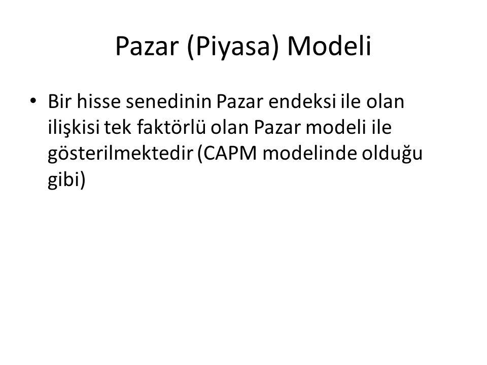 Pazar (Piyasa) Modeli Bir hisse senedinin Pazar endeksi ile olan ilişkisi tek faktörlü olan Pazar modeli ile gösterilmektedir (CAPM modelinde olduğu gibi)