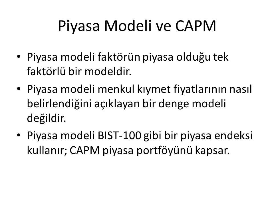 Piyasa Modeli ve CAPM Piyasa modeli faktörün piyasa olduğu tek faktörlü bir modeldir.