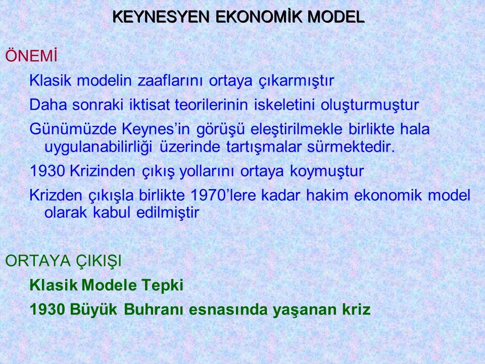 KEYNESYEN EKONOMİK MODEL ÖNEMİ Klasik modelin zaaflarını ortaya çıkarmıştır Daha sonraki iktisat teorilerinin iskeletini oluşturmuştur Günümüzde Keynes'in görüşü eleştirilmekle birlikte hala uygulanabilirliği üzerinde tartışmalar sürmektedir.