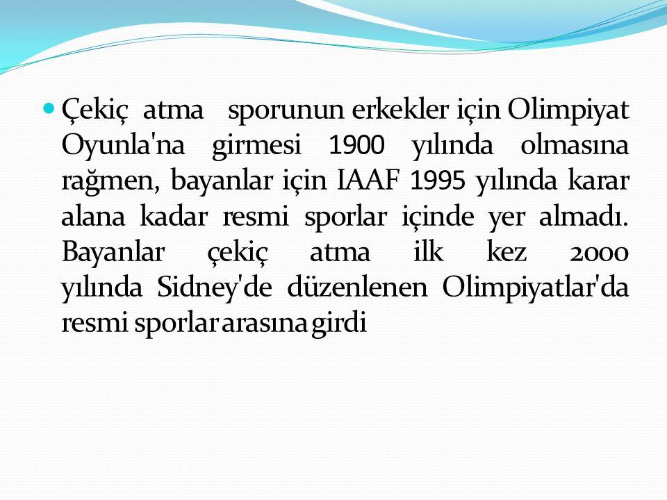 Çekiç atma sporunun erkekler için Olimpiyat Oyunla'na girmesi 1900 yılında olmasına rağmen, bayanlar için IAAF 1995 yılında karar alana kadar resmi sp