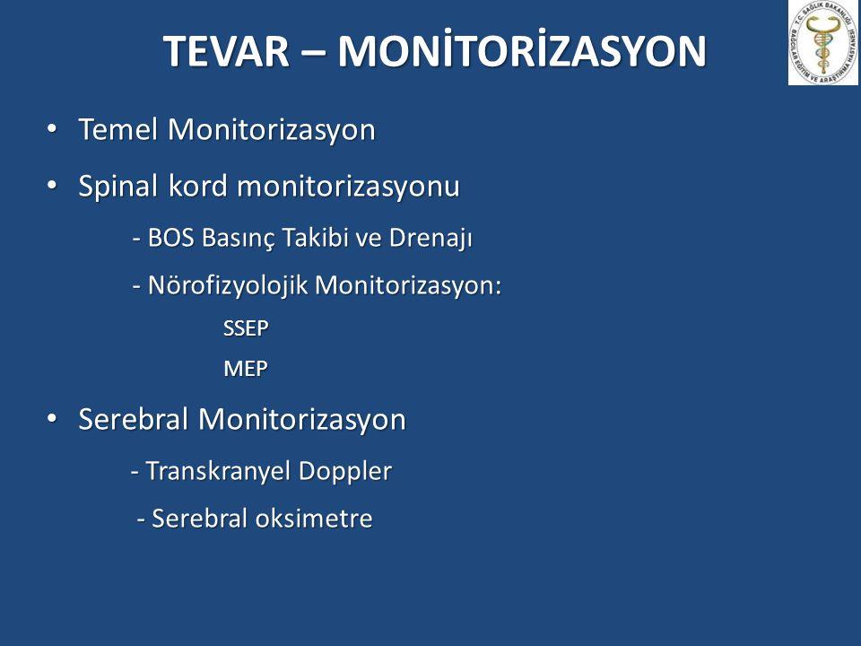 TEVAR – MONİTORİZASYON Temel Monitorizasyon Temel Monitorizasyon Spinal kord monitorizasyonu Spinal kord monitorizasyonu - BOS Basınç Takibi ve Drenaj