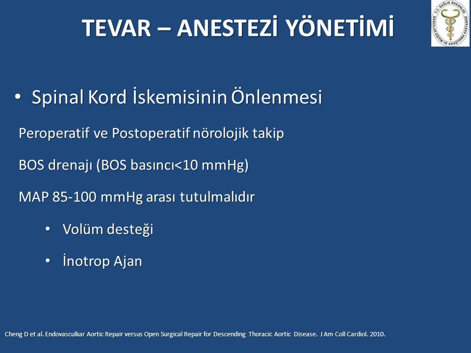 TEVAR – ANESTEZİ YÖNETİMİ Spinal Kord İskemisinin Önlenmesi Spinal Kord İskemisinin Önlenmesi Peroperatif ve Postoperatif nörolojik takip BOS drenajı