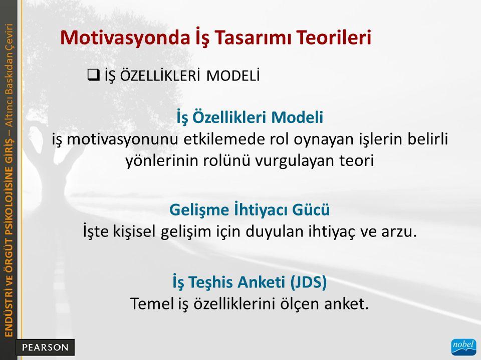 Motivasyonda İş Tasarımı Teorileri  İŞ ÖZELLİKLERİ MODELİ İş Özellikleri Modeli iş motivasyonunu etkilemede rol oynayan işlerin belirli yönlerinin ro