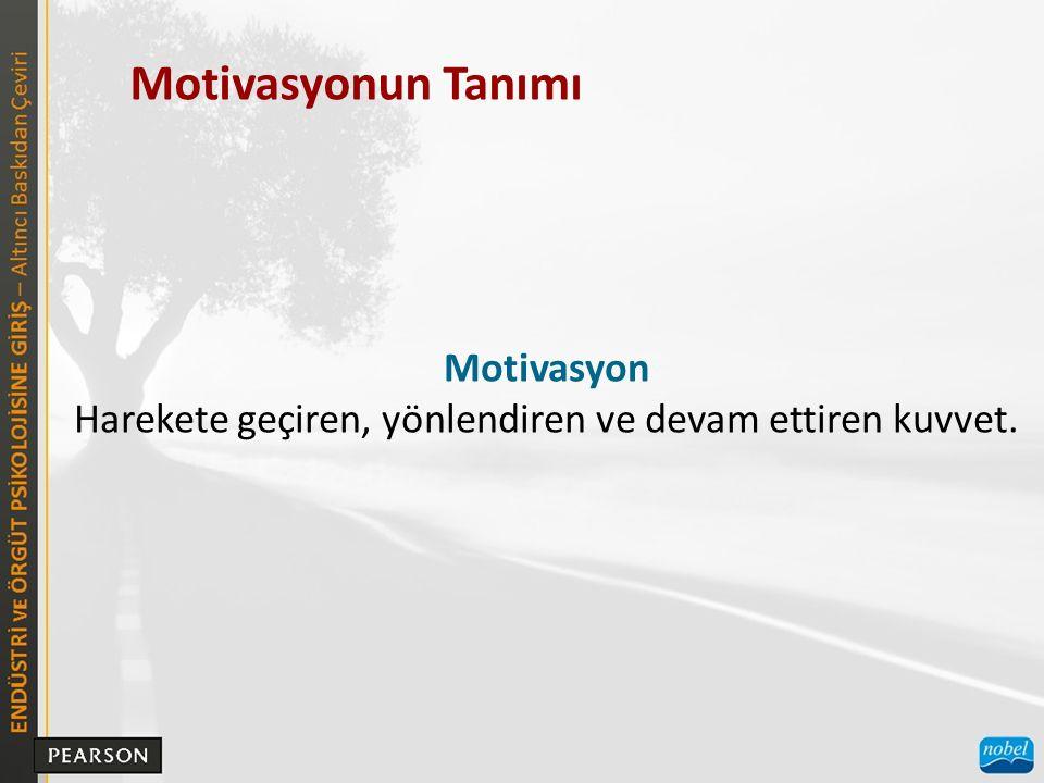 Motivasyonun Tanımı Motivasyon Harekete geçiren, yönlendiren ve devam ettiren kuvvet.