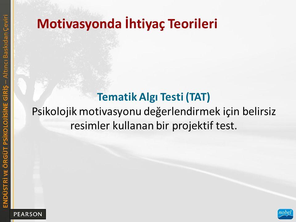 Motivasyonda İhtiyaç Teorileri Tematik Algı Testi (TAT) Psikolojik motivasyonu değerlendirmek için belirsiz resimler kullanan bir projektif test.