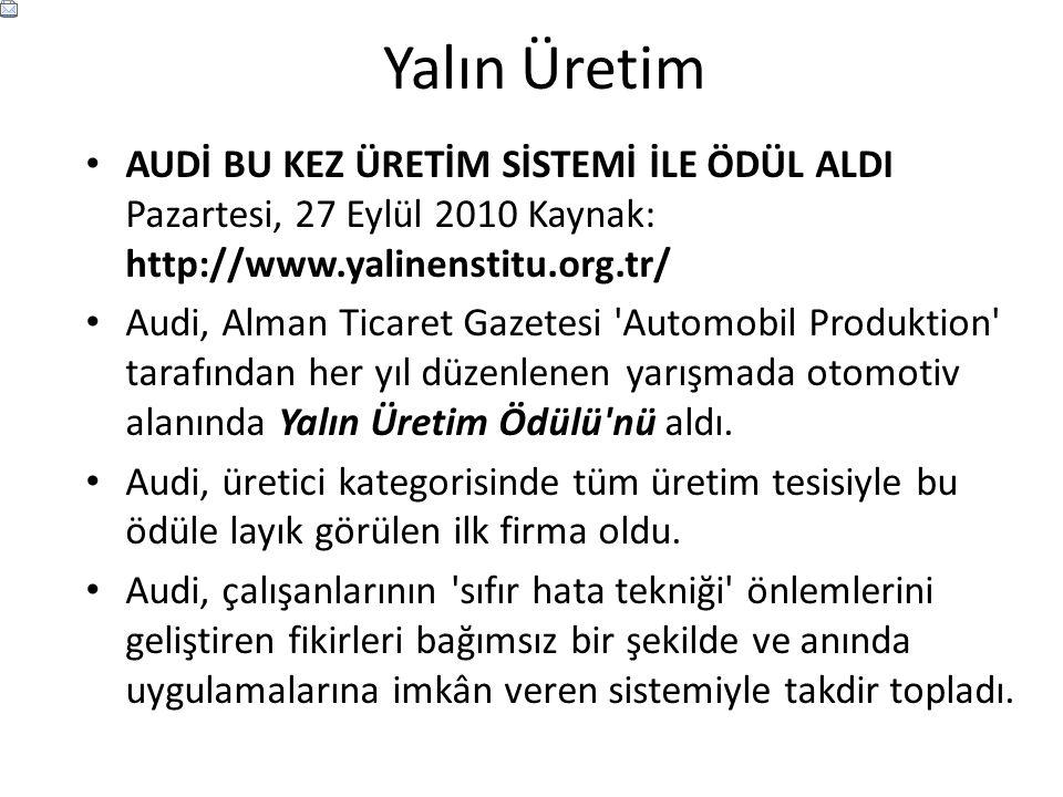 Yalın Üretim AUDİ BU KEZ ÜRETİM SİSTEMİ İLE ÖDÜL ALDI Pazartesi, 27 Eylül 2010 Kaynak: http://www.yalinenstitu.org.tr/ Audi, Alman Ticaret Gazetesi 'A