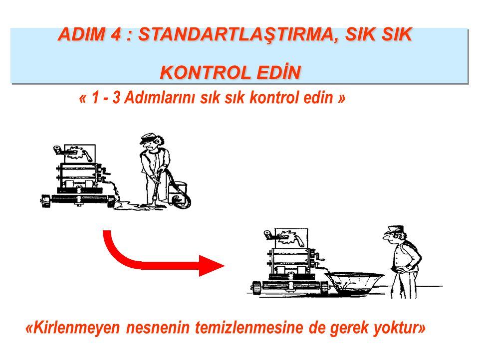 «Kirlenmeyen nesnenin temizlenmesine de gerek yoktur» ADIM 4 : STANDARTLAŞTIRMA, SIK SIK KONTROL EDİN ADIM 4 : STANDARTLAŞTIRMA, SIK SIK KONTROL EDİN