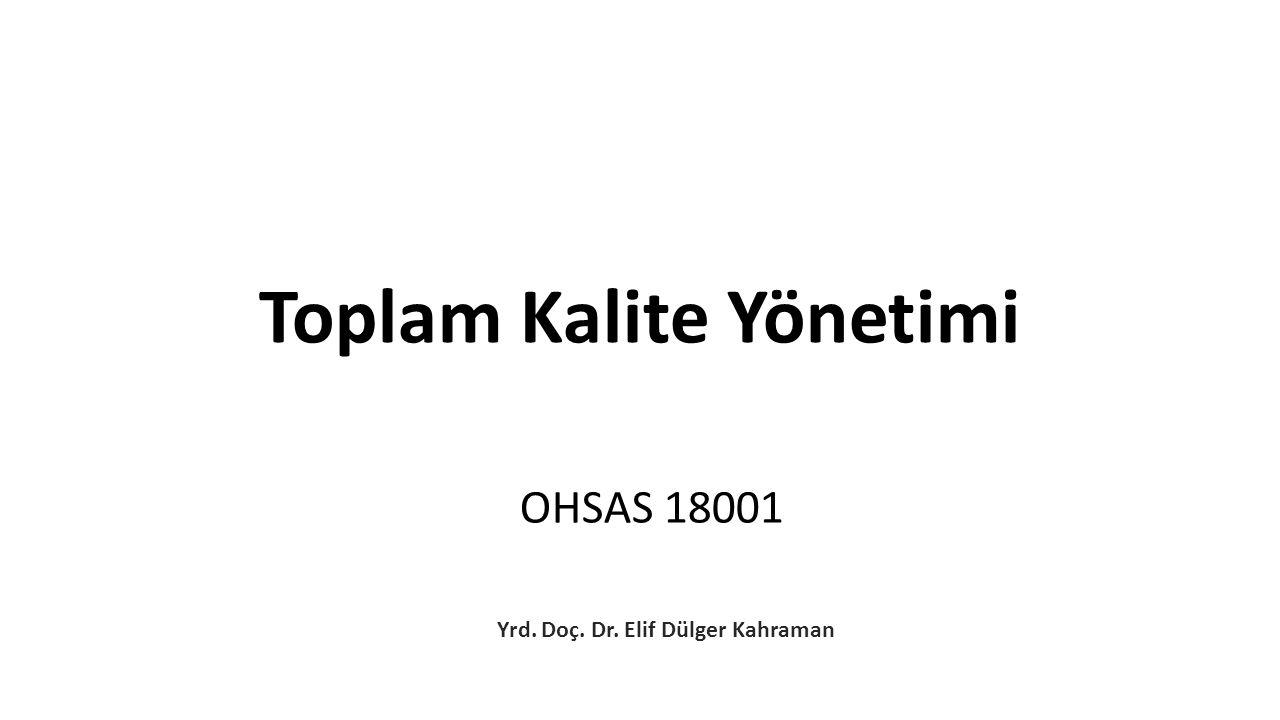 OHSAS 18001 Yrd. Doç. Dr. Elif Dülger Kahraman Toplam Kalite Yönetimi