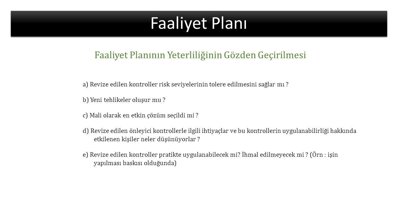 Faaliyet Planı Faaliyet Planının Yeterliliğinin Gözden Geçirilmesi a) Revize edilen kontroller risk seviyelerinin tolere edilmesini sağlar mı ? b) Yen