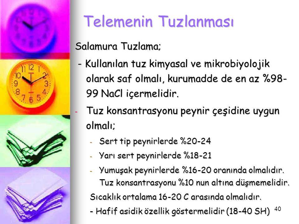 40 Telemenin Tuzlanması Salamura Tuzlama; - Kullanılan tuz kimyasal ve mikrobiyolojik olarak saf olmalı, kurumadde de en az %98- 99 NaCl içermelidir.