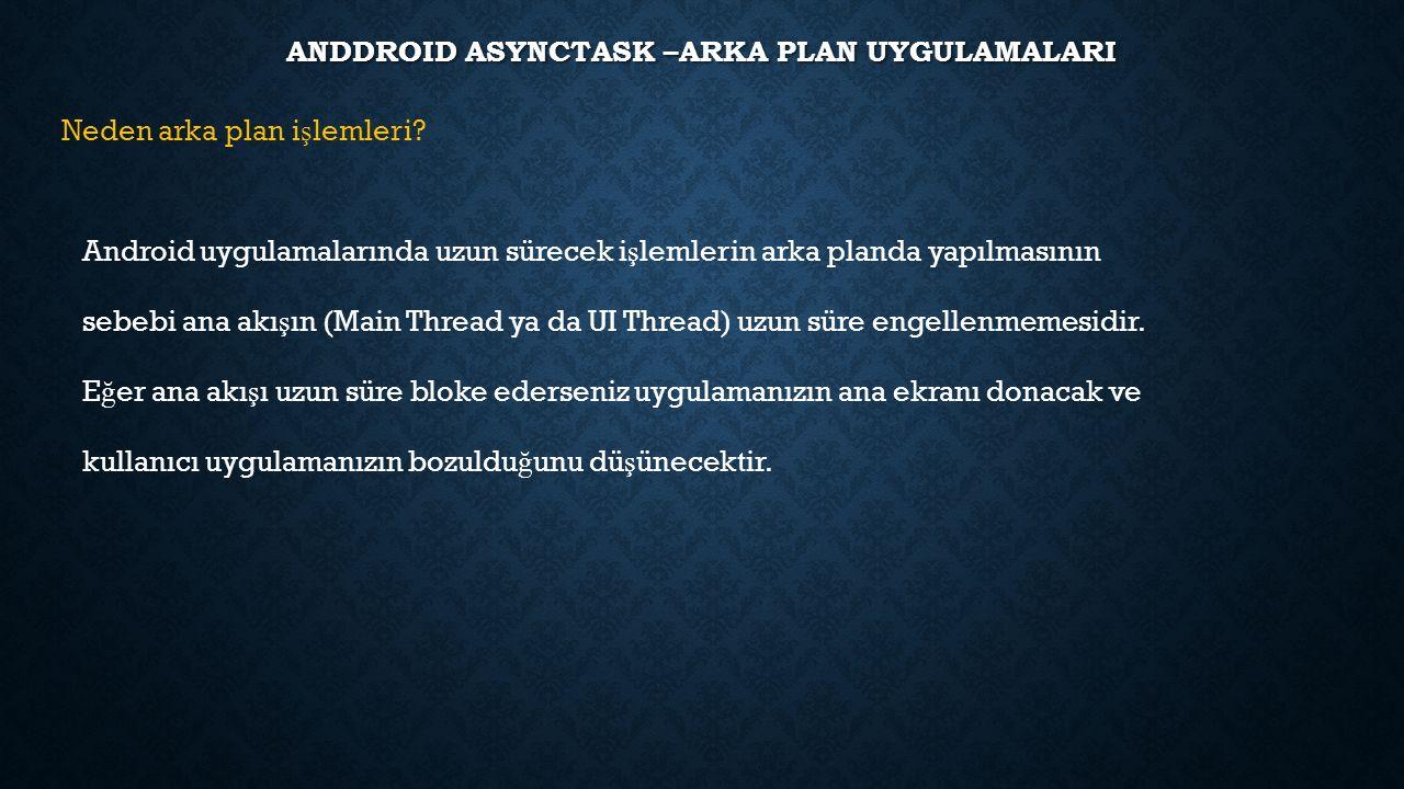 ANDDROID ASYNCTASK –ARKA PLAN UYGULAMALARI Neden arka plan i ş lemleri? Android uygulamalarında uzun sürecek i ş lemlerin arka planda yapılmasının seb