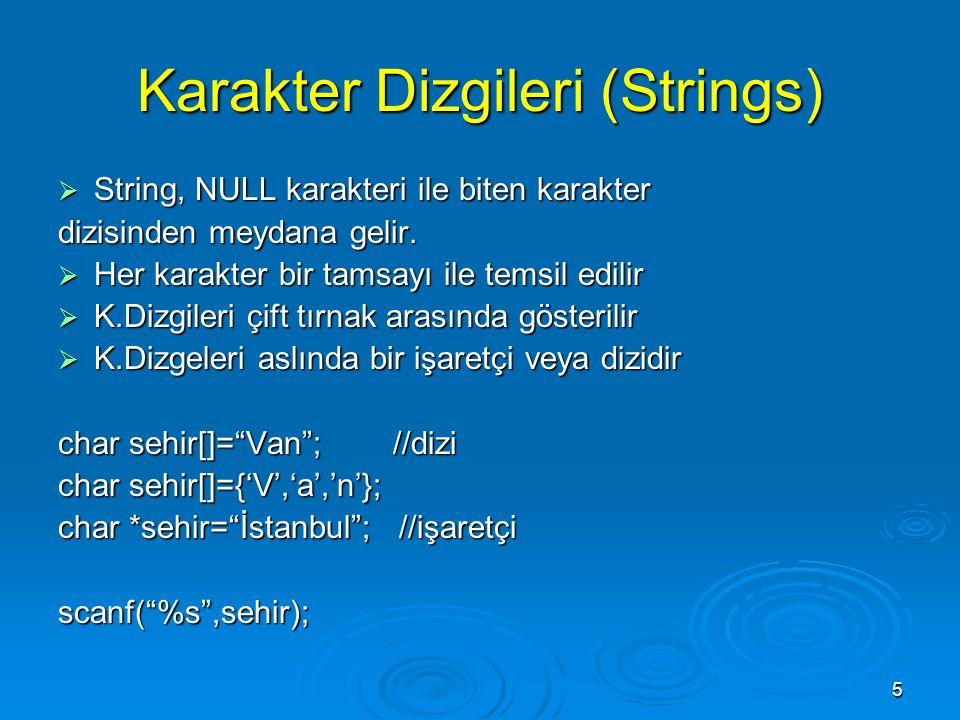 5 Karakter Dizgileri (Strings)  String, NULL karakteri ile biten karakter dizisinden meydana gelir.