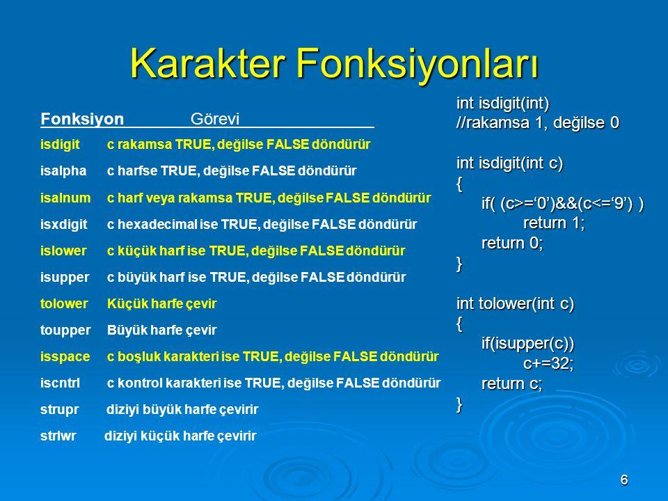 6 Karakter Fonksiyonları Fonksiyon Görevi isdigit c rakamsa TRUE, değilse FALSE döndürür isalpha c harfse TRUE, değilse FALSE döndürür isalnum c harf veya rakamsa TRUE, değilse FALSE döndürür isxdigit c hexadecimal ise TRUE, değilse FALSE döndürür islower c küçük harf ise TRUE, değilse FALSE döndürür isupper c büyük harf ise TRUE, değilse FALSE döndürür tolower Küçük harfe çevir toupper Büyük harfe çevir isspace c boşluk karakteri ise TRUE, değilse FALSE döndürür iscntrl c kontrol karakteri ise TRUE, değilse FALSE döndürür strupr diziyi büyük harfe çevirir strlwr diziyi küçük harfe çevirir int isdigit(int) //rakamsa 1, değilse 0 int isdigit(int c) { if( (c>='0')&&(c ='0')&&(c<='9') ) return 1; return 0; } int tolower(int c) {if(isupper(c))c+=32; return c; }