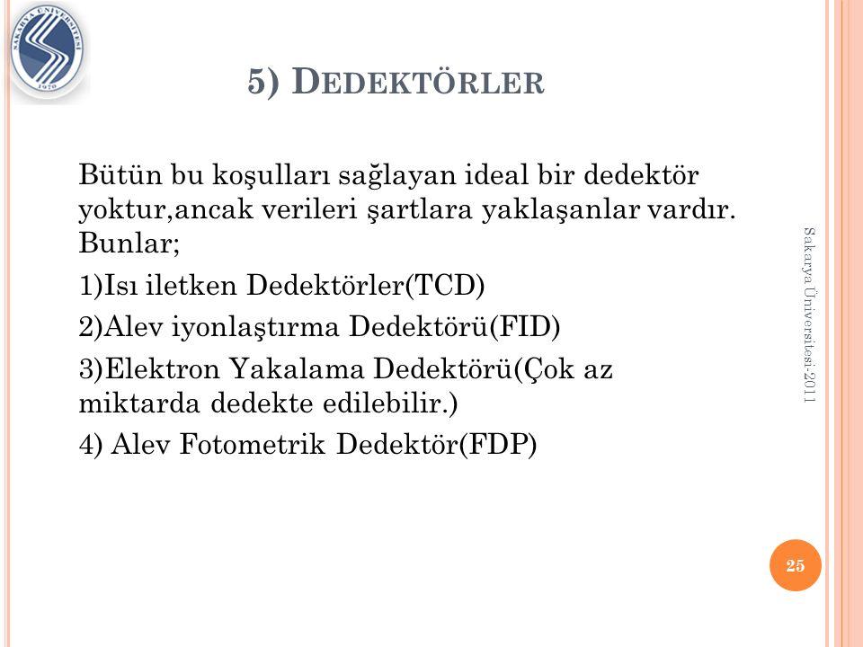 I SI ILETKEN DEDEKTÖRLER (TCD) En çok kullanılan dedektörlerdendir.
