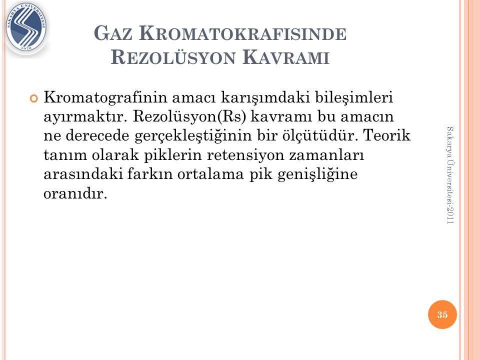 G AZ K ROMATOKRAFISINDE R EZOLÜSYON K AVRAMI 36 Sakarya Üniversitesi-2011 Rezolüsyon arttıkça analizde doğruluk artar.