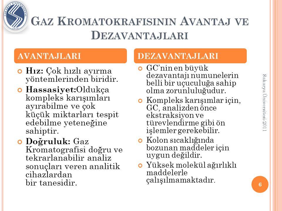 K ULLANIM A LANLARI Kantitatif analiz: Gaz kromatografinin en yaygın kullanım alanı kantitatif tayinlerdir.Bir kromatografik pikin altındaki alan mevcut maddenin miktarına bağlıdır.