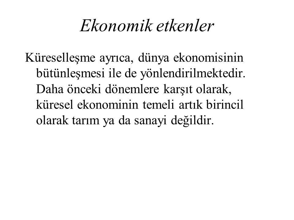Ekonomik etkenler Küreselleşme ayrıca, dünya ekonomisinin bütünleşmesi ile de yönlendirilmektedir. Daha önceki dönemlere karşıt olarak, küresel ekonom