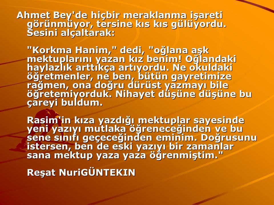 Ahmet Bey'de hiçbir meraklanma işareti görünmüyor, tersine kıs kıs gülüyordu. Sesini alçaltarak: