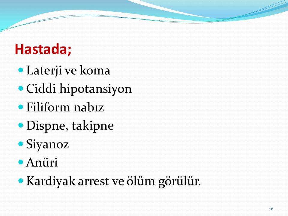 Laterji ve koma Ciddi hipotansiyon Filiform nabız Dispne, takipne Siyanoz Anüri Kardiyak arrest ve ölüm görülür. Hastada; 16
