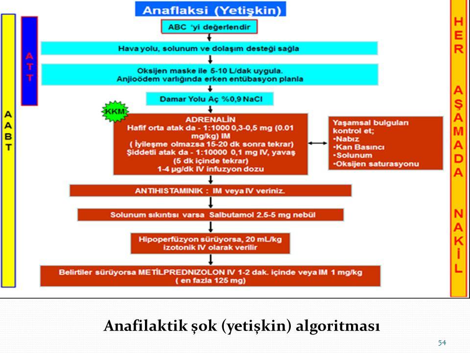 Anafilaktik şok (yetişkin) algoritması 54
