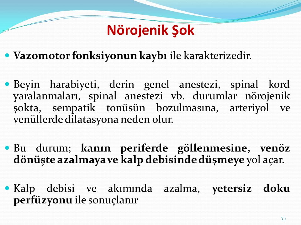 Nörojenik Şok Vazomotor fonksiyonun kaybı ile karakterizedir. Beyin harabiyeti, derin genel anestezi, spinal kord yaralanmaları, spinal anestezi vb. d