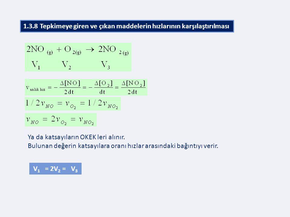 Ya da katsayıların OKEK leri alınır. Bulunan değerin katsayılara oranı hızlar arasındaki bağıntıyı verir. V 1 = 2V 2 = V 3 1.3.8 Tepkimeye giren ve çı