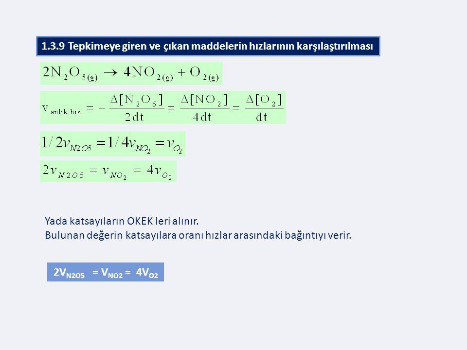 Yada katsayıların OKEK leri alınır. Bulunan değerin katsayılara oranı hızlar arasındaki bağıntıyı verir. 2V N2O5 = V NO2 = 4V O2 1.3.9 Tepkimeye giren