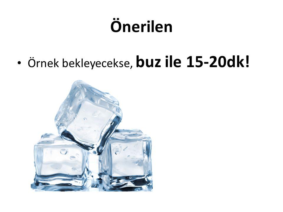 Önerilen Örnek bekleyecekse, buz ile 15-20dk!