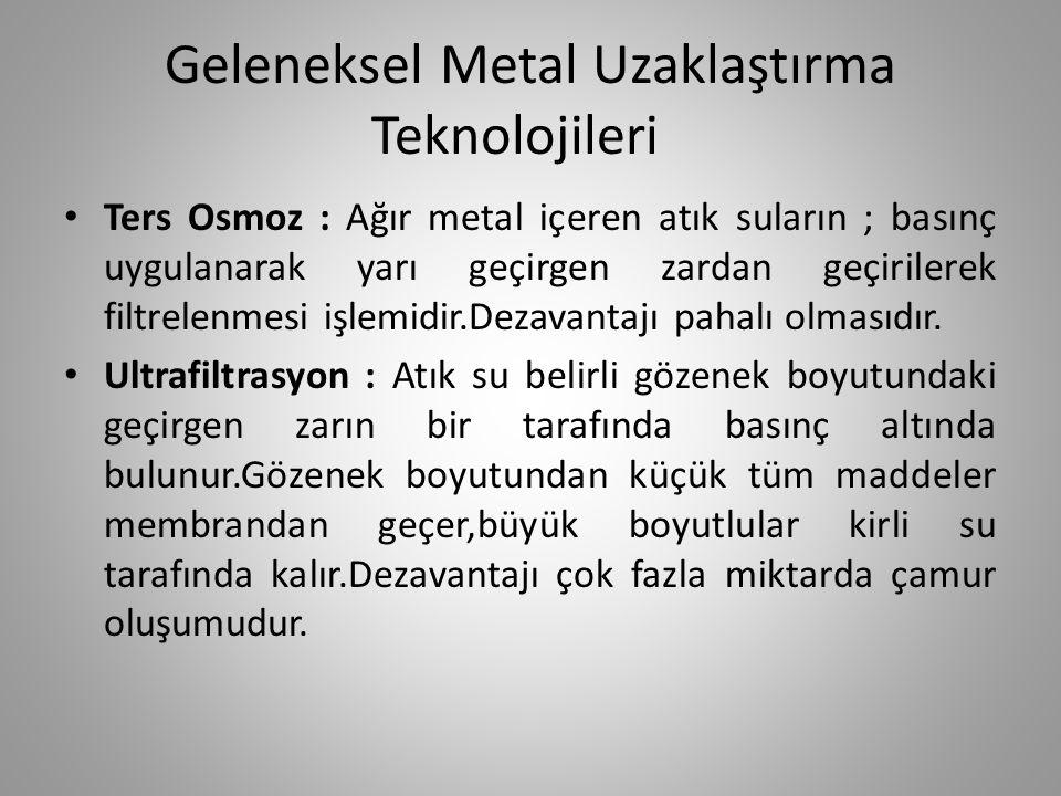 Geleneksel Metal Uzaklaştırma Teknolojileri Ters Osmoz : Ağır metal içeren atık suların ; basınç uygulanarak yarı geçirgen zardan geçirilerek filtrele