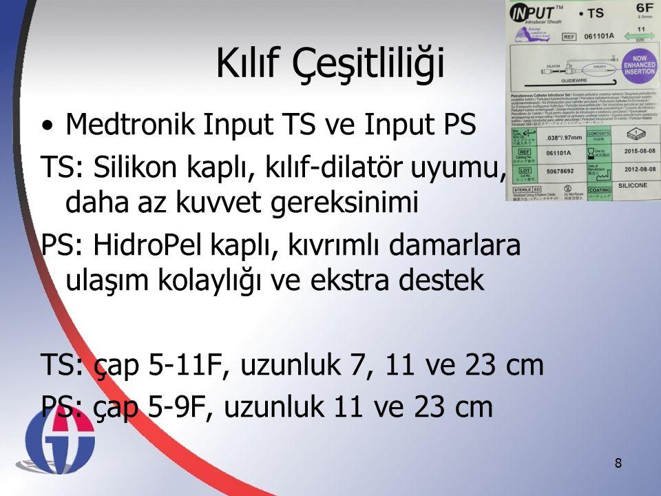 Kılıf Çeşitliliği Medtronik Input TS ve Input PS TS: Silikon kaplı, kılıf-dilatör uyumu, daha az kuvvet gereksinimi PS: HidroPel kaplı, kıvrımlı damar