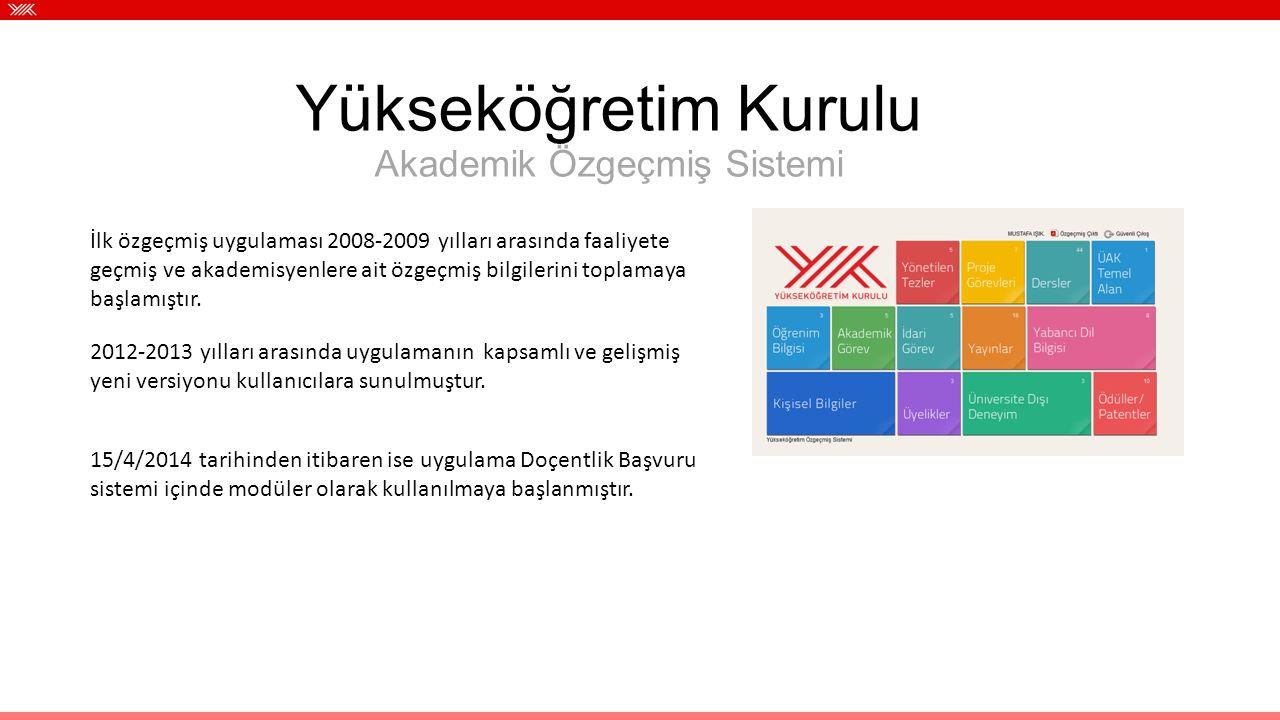 İlk özgeçmiş uygulaması 2008-2009 yılları arasında faaliyete geçmiş ve akademisyenlere ait özgeçmiş bilgilerini toplamaya başlamıştır. 2012-2013 yılla