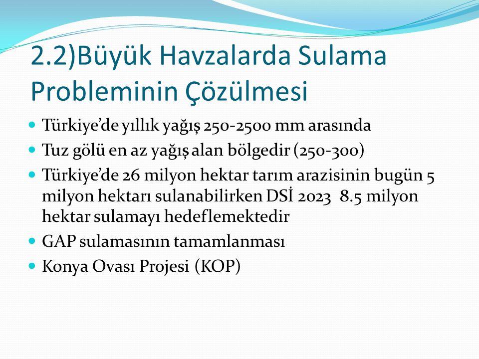 2.2)Büyük Havzalarda Sulama Probleminin Çözülmesi Türkiye'de yıllık yağış 250-2500 mm arasında Tuz gölü en az yağış alan bölgedir (250-300) Türkiye'de