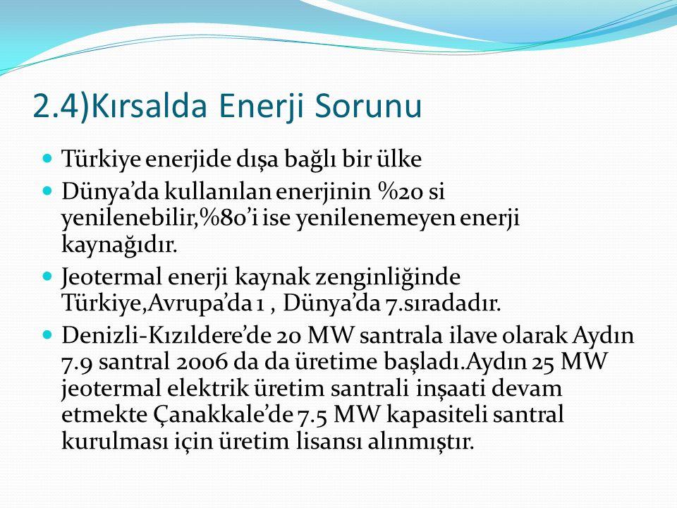 2.4)Kırsalda Enerji Sorunu Türkiye enerjide dışa bağlı bir ülke Dünya'da kullanılan enerjinin %20 si yenilenebilir,%80'i ise yenilenemeyen enerji kayn