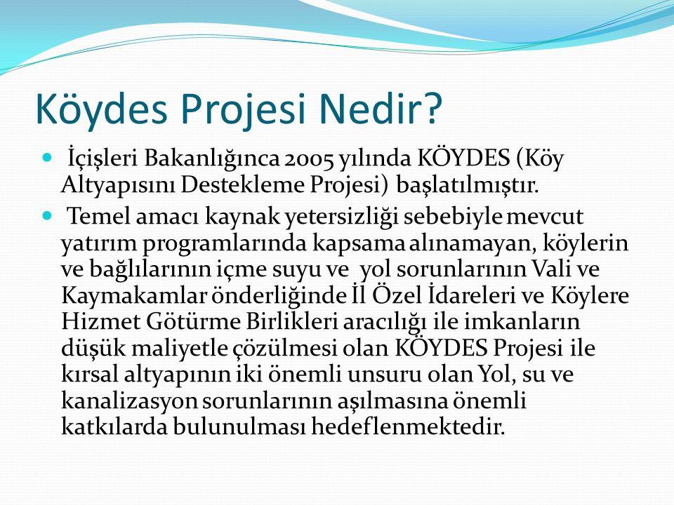 Köydes Projesi Nedir? İçişleri Bakanlığınca 2005 yılında KÖYDES (Köy Altyapısını Destekleme Projesi) başlatılmıştır. Temel amacı kaynak yetersizliği s