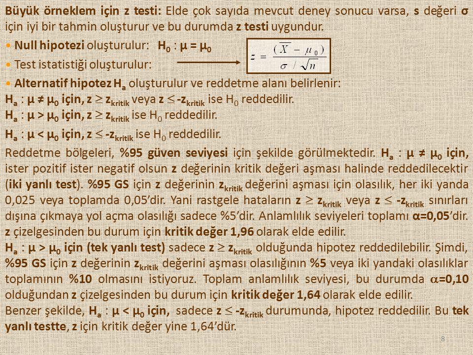 8 Büyük örneklem için z testi: Elde çok sayıda mevcut deney sonucu varsa, s değeri σ için iyi bir tahmin oluşturur ve bu durumda z testi uygundur. Nul
