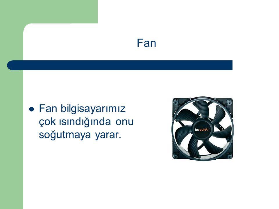 Fan bilgisayarımız çok ısındığında onu soğutmaya yarar. Fan
