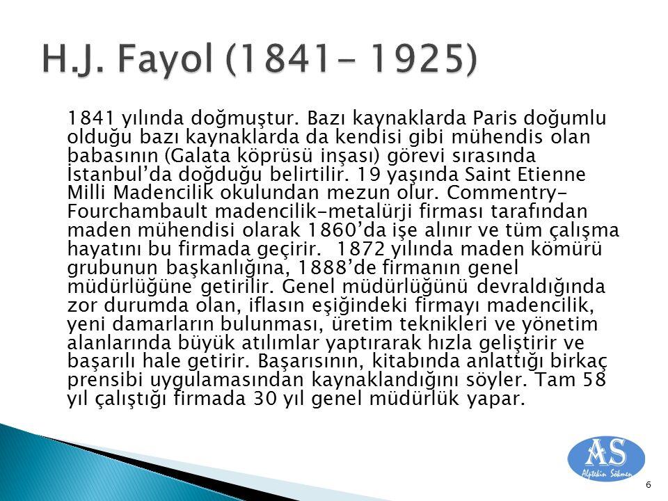 Fayol'un örgüt ve yönetime ilişkin ilkeler dizisi şu şekildedir :  İşbölümü ve Uzmanlaşma (Yapıyla ilgili) İşin parçalarının çalışanlar arasında bölünmesidir.