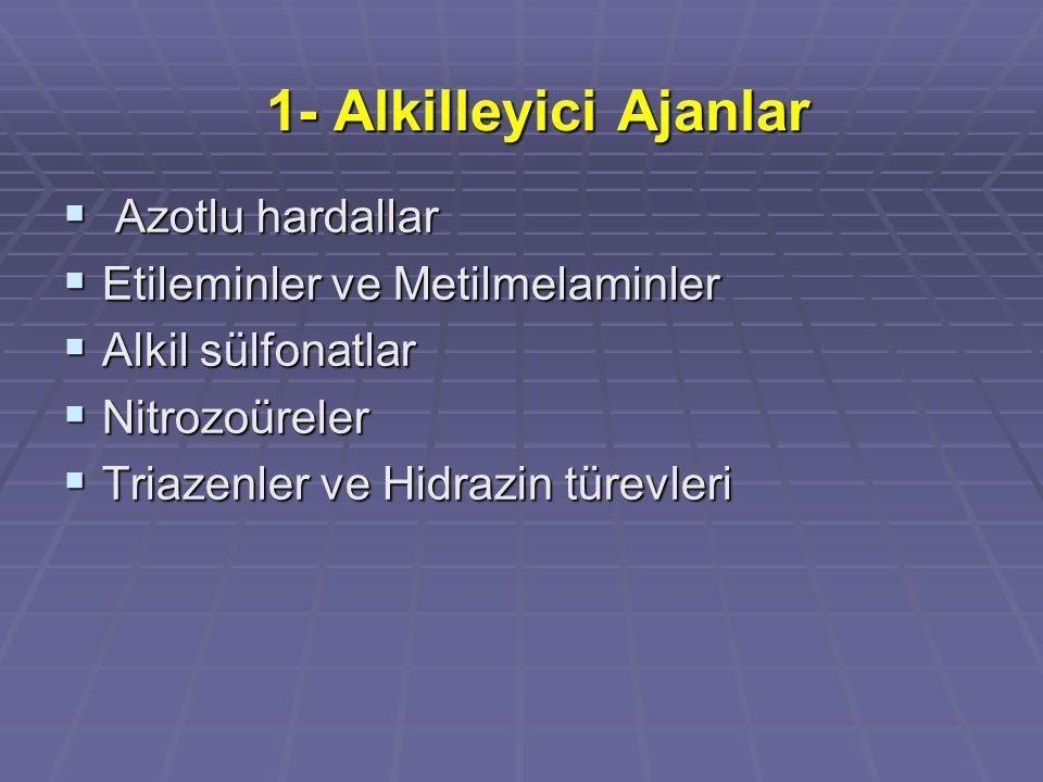1- Alkilleyici Ajanlar  Azotlu hardallar  Etileminler ve Metilmelaminler  Alkil sülfonatlar  Nitrozoüreler  Triazenler ve Hidrazin türevleri